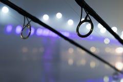 Carp rods in foggy night. Urban Edition. Night Fishing Stock Images