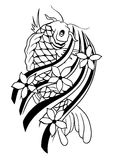 Carp Tattoo Vector. Handmade Carp Tattoo Design Royalty Free Stock Images