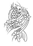 Carp Tattoo Vector. Handmade Carp Tattoo Design Stock Photo