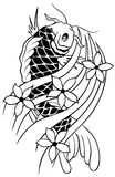Carp Tattoo Vector. Handmade Carp Tattoo Design Royalty Free Stock Photos