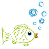 Carp on white background. Carp with bubbles on white background. Vector illustration Royalty Free Stock Images
