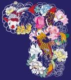A carpa bonita, colorida de Koi com respingo da água, os lótus e a peônia florescem Projeto japonês tradicional da tatuagem Imagens de Stock Royalty Free