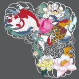 A carpa bonita, colorida de Koi com respingo da água, os lótus e a peônia florescem Projeto japonês tradicional da tatuagem Imagem de Stock