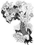 A carpa bonita, colorida de Koi com respingo da água, os lótus e a peônia florescem Projeto japonês tradicional da tatuagem Imagens de Stock