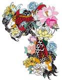 A carpa bonita, colorida de Koi com respingo da água, os lótus e a peônia florescem Projeto japonês tradicional da tatuagem Foto de Stock