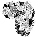 A carpa bonita, colorida de Koi com respingo da água, os lótus e a peônia florescem Projeto japonês tradicional da tatuagem Fotografia de Stock Royalty Free