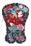 A carpa de Koi com tatuagem vermelha do dragão e do pavão projeta o pêssego com peônia e a ameixa florescem no fundo da nuvem Tat ilustração do vetor