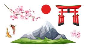Carpa del koi de Sakura de la puerta de Torii del japonés del vector imagen de archivo libre de regalías