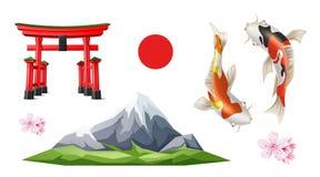 Carpa do koi de sakura da porta de Torii do japonês do vetor ilustração royalty free