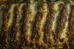 Carpa enchida, decorada com vegetais Prato de peixes fotografia de stock royalty free