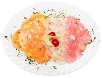 carpaccio łososiowy seabass tuńczyk zdjęcie stock