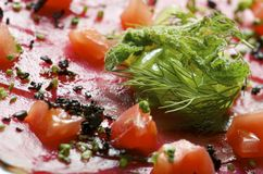 Carpaccio. Forefront of carpaccio of tuna with diced tomatoes stock photography
