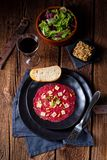 Carpaccio of beef with pine nuts, colorful pepper and Parmesan c Stock Photography