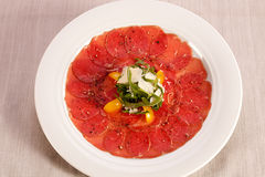 Carpaccio of beef. Royalty Free Stock Photography