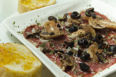 Carpaccio of beef tenderloin stock photography