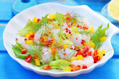 Carpaccio from a cod in Portuguese Stock Photography