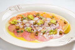 Carpaccio con il salmone, assorti Fotografia Stock