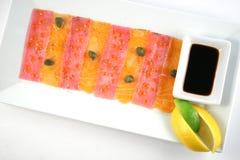 Carpaccio de salmones y del atún Imagen de archivo libre de regalías