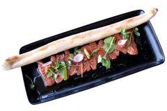 Carpaccio do atum com um baguette imagem de stock royalty free
