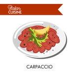 Carpaccio italien délicieux avec la tranche fraîche d'arugula et de citron Photo stock