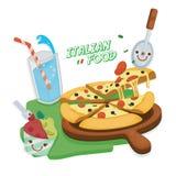 carpaccio kuchni doskonale stylu życia, jedzenie luksus włoski Pizza Margarita, gelato lody i napój, Fotografia Stock