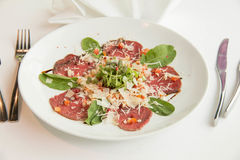 Carpaccio made from slice beet stock images