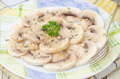 Carpaccio with mushrooms and spices closeup Stock Photo