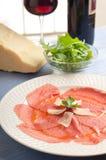 Carpaccio with parmesan cheese Stock Photos