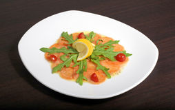 Carpaccio with salmon Stock Images