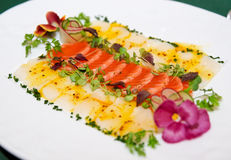 Carpaccio of trout and scallop Royalty Free Stock Image
