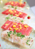 Carpaccio of tuna and seabass Stock Image