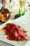 Carpaccio. Of veal in the gourmet restaurant Stock Photo