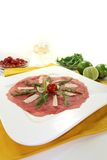 Carpaccio with white wine Stock Photo