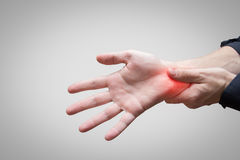 Carpal tunnel pain. In hand stock images
