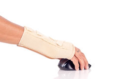 Carpal Tunnell Syndrome Concept. With Hand Brace stock photos