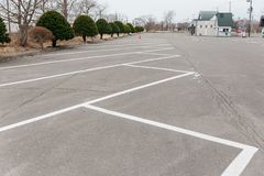 Carpark line on the area of Shiraoi Ainu Village Museum in Hokkaido, Japan Stock Image