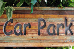 Carpark sign on wood Royalty Free Stock Image