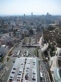 Carpark w środkowej dzielnicie biznesu Osaka, wliczając budynków i dróg Zdjęcia Stock