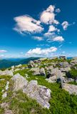 Carpathian alps with huge boulders on hillsides. Beautiful summer landscape in fine weather. Location Polonina Runa, Ukraine Stock Images