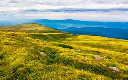 Carpathian alps with huge boulders on hillsides. Beautiful summer landscape on overcast day. Location Polonina Runa, Ukraine Royalty Free Stock Images