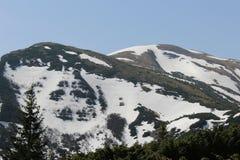 Carpathian berg i snön Arkivfoton