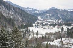 Carpathian berg i vintertid. Arkivbilder
