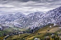 Carpathian berg på höst med whitefrost - Rumänien Royaltyfri Fotografi