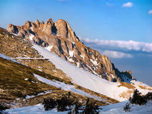 Carpathian: Ciucas mountain. The peak of Tigaile Mari is 1844 meters altidude high. Relief forms like towers called sugar heads are specific for this summit Royalty Free Stock Photos