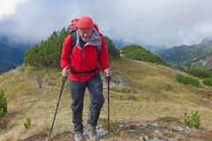 Carpathian hiker in Beler Tatra Mountains, Western Carpathians, Slovakia Royalty Free Stock Photos