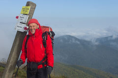 Carpathian hiker at Bieszczady Eastern Carpathians, Poland Stock Photos