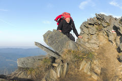 Carpathian hiker at Bieszczady Eastern Carpathians, Poland Royalty Free Stock Images