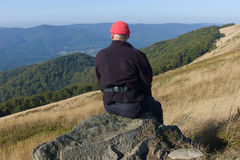 Carpathian hiker at Bieszczady Eastern Carpathians, Poland Stock Images