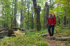 Carpathian hiker at Bieszczady Eastern Carpathians, Poland Royalty Free Stock Photography