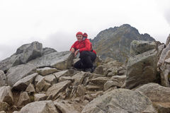 Carpathian hiker in High Tatra Mountains Royalty Free Stock Images